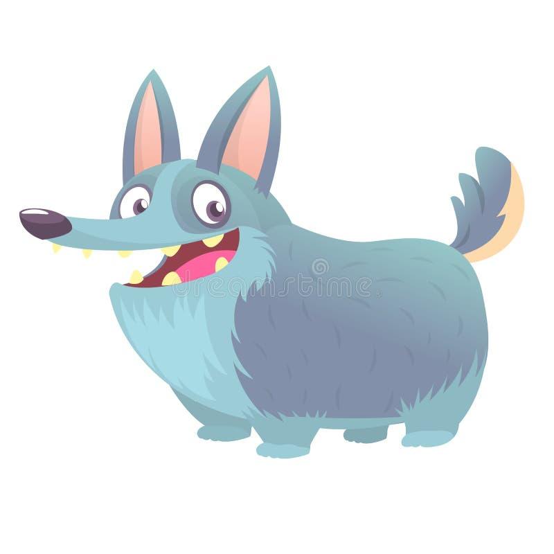 Ślicznej kreskówki wektorowy rysunek psia głowa Walijski Corgi traken Wizerunek odizolowywający na bielu ilustracji