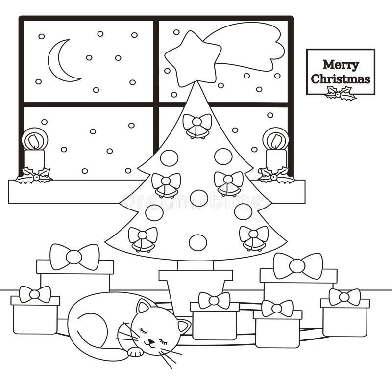 Ślicznej kreskówki wektoru domu czarny i biały wnętrze z choinką, prezentami i kot łgarską sypialną ilustracją dla barwić ar, royalty ilustracja