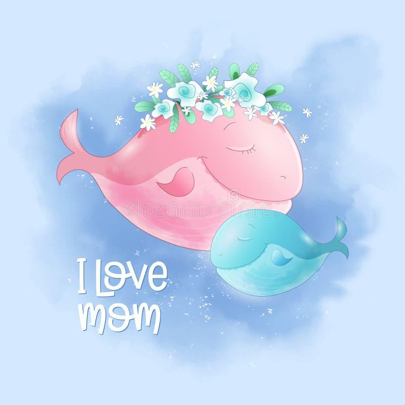 Ślicznej kreskówki wielorybia mama i syn w niebie, pocztówkowy druku plakat dla dziecka s pokoju ilustracji
