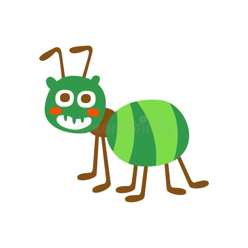 Ślicznej kreskówki zieleni mrówki charakteru wektoru kolorowa ilustracja ilustracja wektor