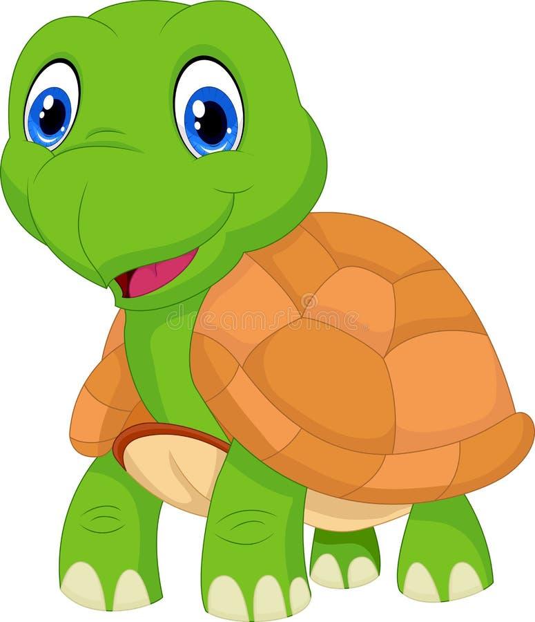 Ślicznej kreskówki zielony żółw royalty ilustracja