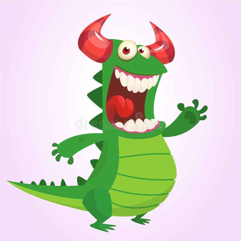 Ślicznej kreskówki zielony smok również zwrócić corel ilustracji wektora Dinosaur kreskówka royalty ilustracja