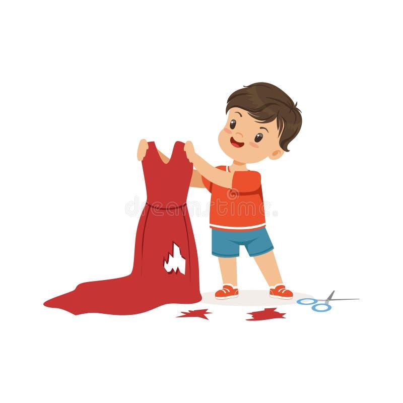 Ślicznej małej łobuz chłopiec tnące czerwone matki ubierają, bandziora rozochocony małe dziecko, zła dziecka zachowania wektoru i ilustracji
