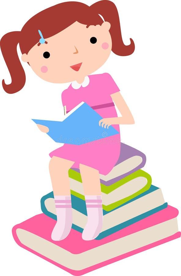 Ślicznej małej dziewczynki reaing książka ilustracja wektor