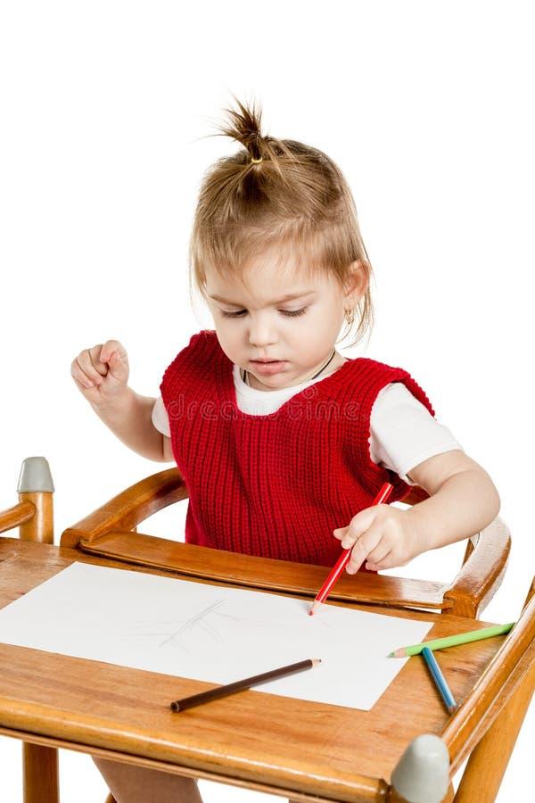 Ślicznej małej dziewczynki rysunkowy zbliżenie zdjęcia royalty free