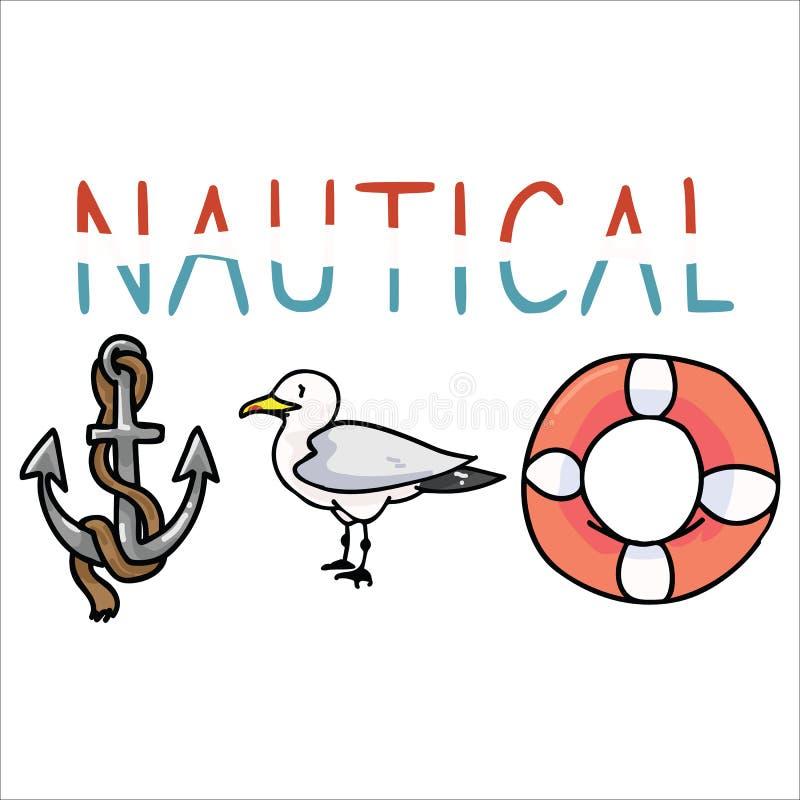Ślicznej nautycznej typografii kreskówki motywu wektorowy ilustracyjny set Wręcza rysującego odosobnionego ocean przyrody element ilustracji