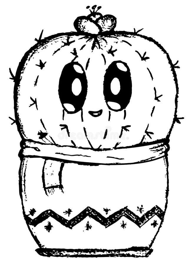 Ślicznej nieśmiałej kaktusowej kreskówki doodle łatwy wizerunek obrazy stock