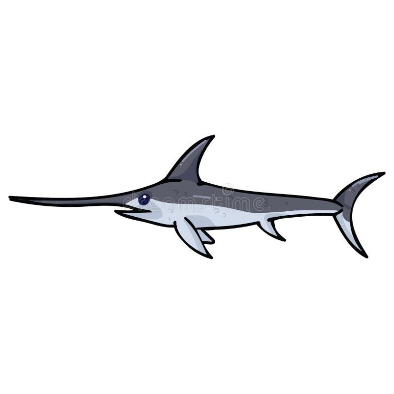 Ślicznej oceanów swordfish kreskówki motywu wektorowy ilustracyjny set Wręcza rysującego odosobnionego dennego życia marlin eleme ilustracja wektor