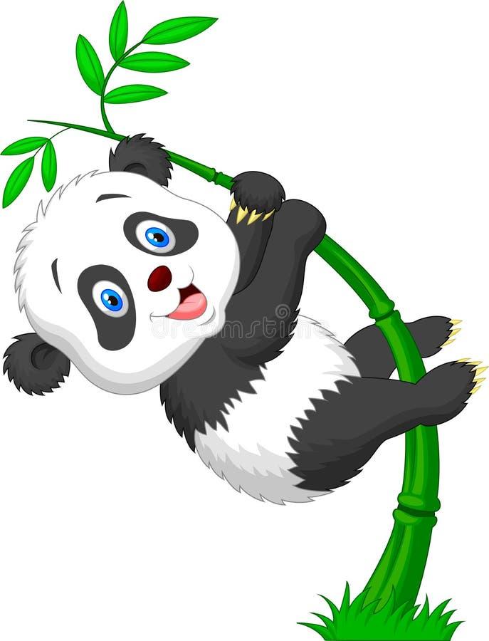 Ślicznej pandy kreskówki wspinaczkowy bambusowy drzewo royalty ilustracja
