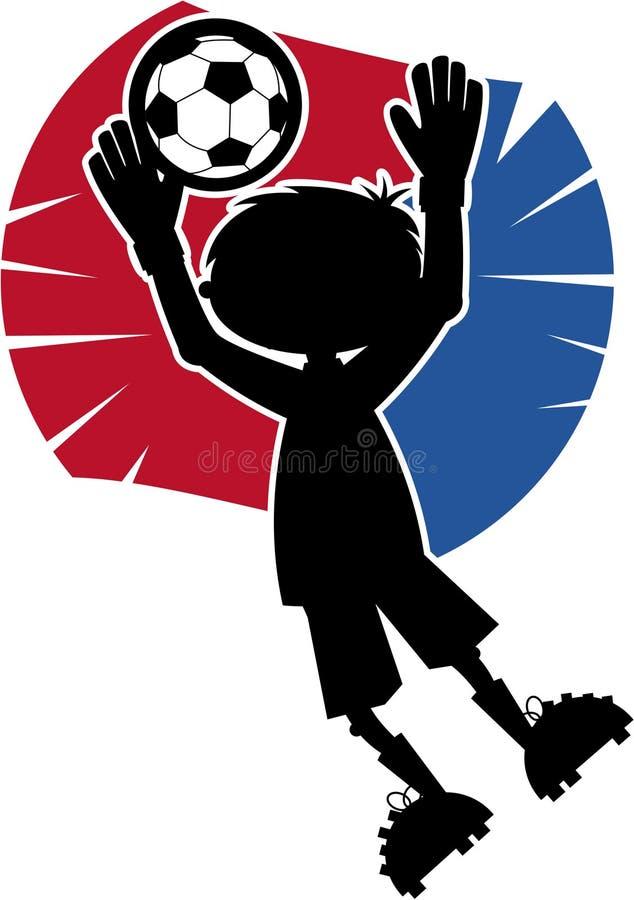 Ślicznej piłki nożnej chłopiec Futbolowa sylwetka ilustracja wektor