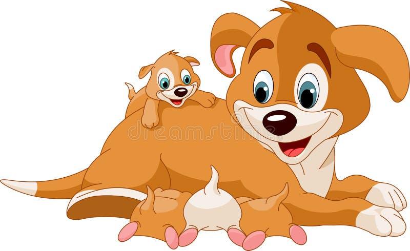 ślicznej psa matki karmiący szczeniaki royalty ilustracja