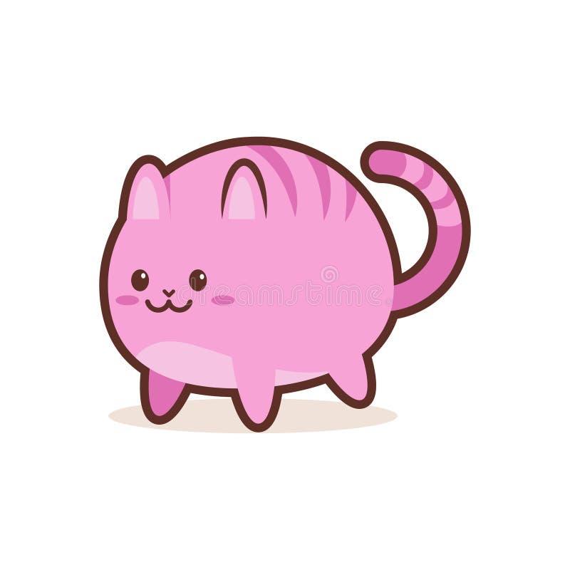 Ślicznej różowej kot kreskówki komiczny charakter z uśmiechniętego twarzy emoji anime kawaii szczęśliwego stylu śmiesznym zwierzę ilustracja wektor