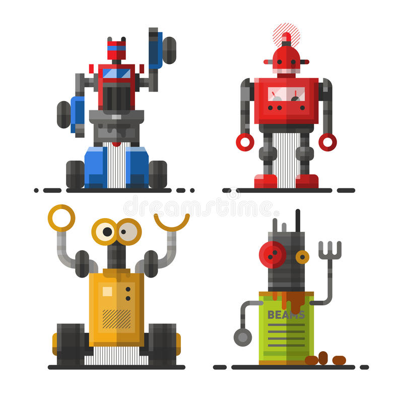Ślicznej rocznika robota technologii nauki cyborga i zabawki futurystycznego projekta elementu ikony maszynowy przyszłościowy mec ilustracja wektor