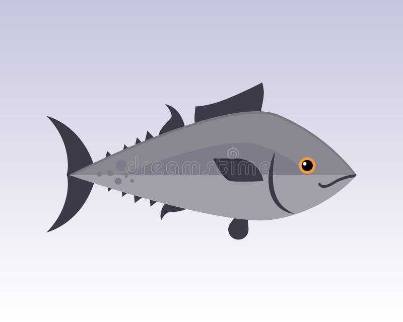Ślicznej rybiej szarej kreskówki śmiesznego pływackiego graficznego zwierzęcego charakteru i podwodnej ocean przyrody natury żebr royalty ilustracja