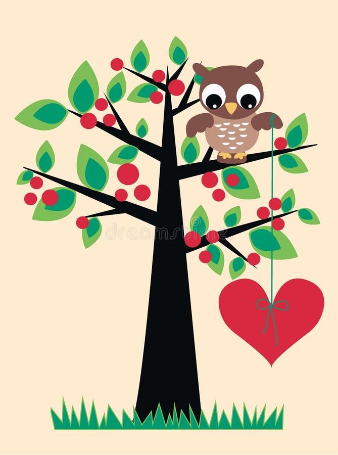 ślicznej sowy siedzący drzewo royalty ilustracja