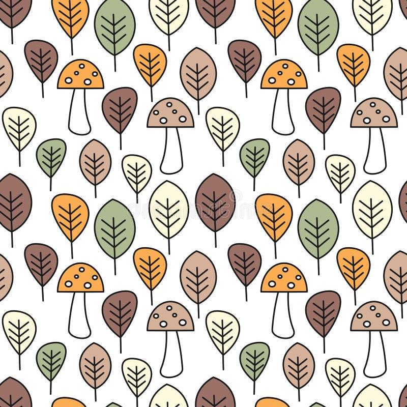 Ślicznej spadek jesieni wektoru wzoru tła kolorowa bezszwowa ilustracja z pieczarkami i liśćmi ilustracji