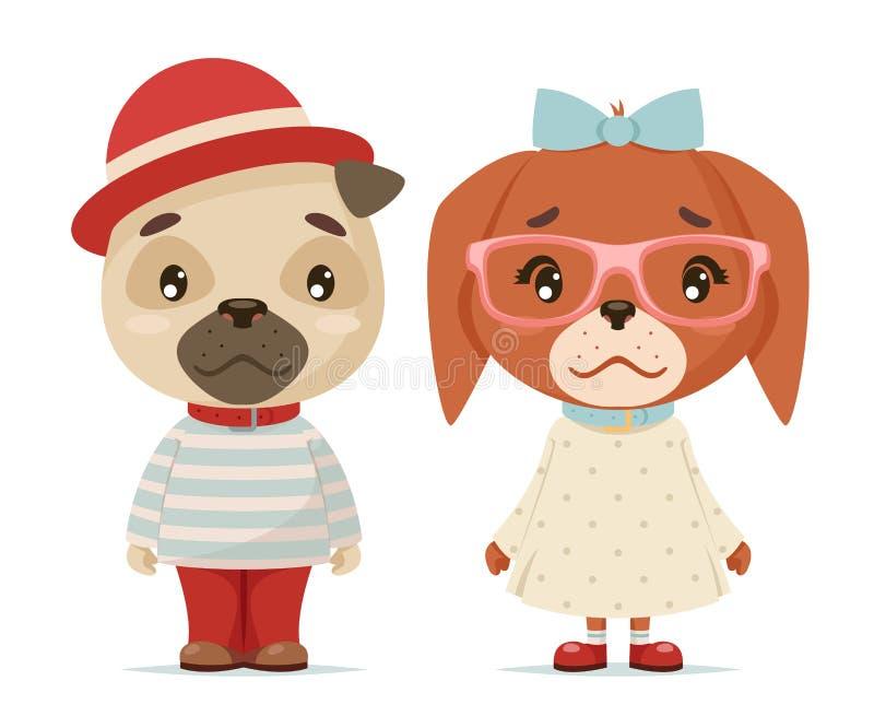 Ślicznej szczeniaków psów chłopiec dziewczyny fajtłapy lisiątek modnisia maskotki kreskówki projekta wektoru płaska ilustracja ilustracja wektor