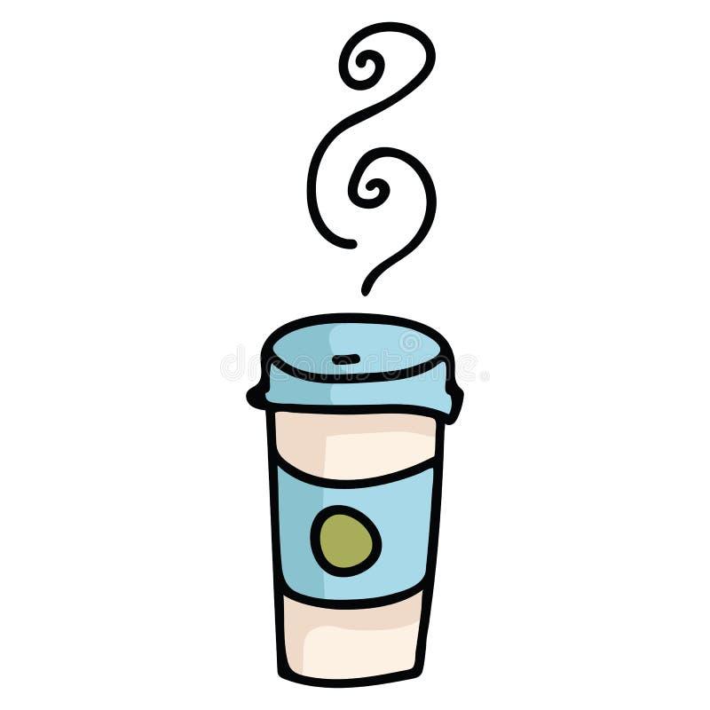 Ślicznej takeaway kawowej kreskówki motywu wektorowy ilustracyjny set royalty ilustracja