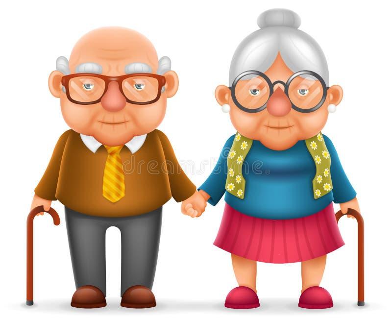 Ślicznej uśmiech starszych osob pary starego człowieka miłości kobiety babci 3d Szczęśliwej Dziadek Realistycznej kreskówki chara ilustracja wektor