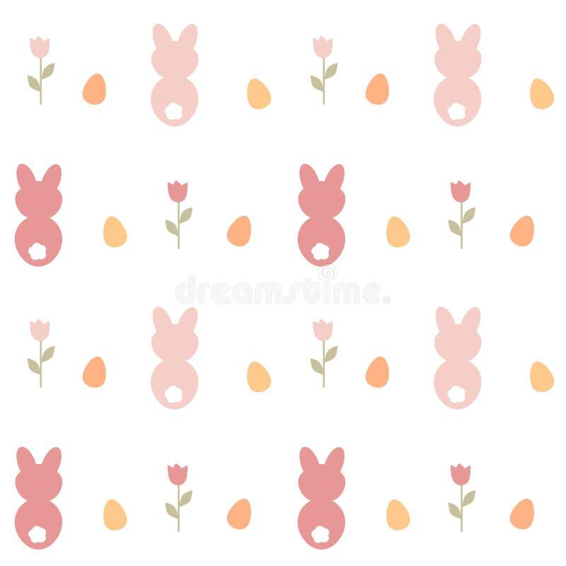 Ślicznej uroczej kreskówki wektoru wzoru tła bezszwowa ilustracja z królikiem, Easter jajkami i tulipanami, ilustracja wektor