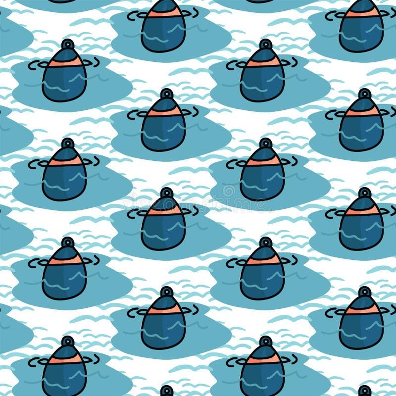 Ślicznej wodniactwo boja kreskówki wektoru bezszwowy wzór Ręka rysująca żeglowanie płytka Po całym druk dla morskiego wyposażenia ilustracji