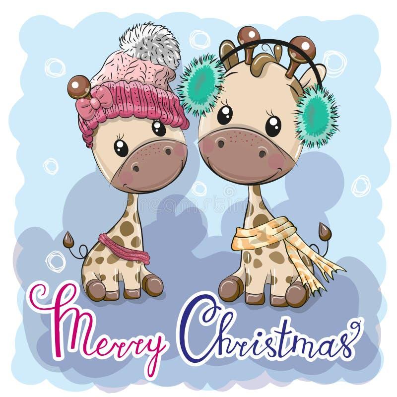 Ślicznej zimy ilustracyjne żyrafy chłopiec i dziewczyna ilustracji