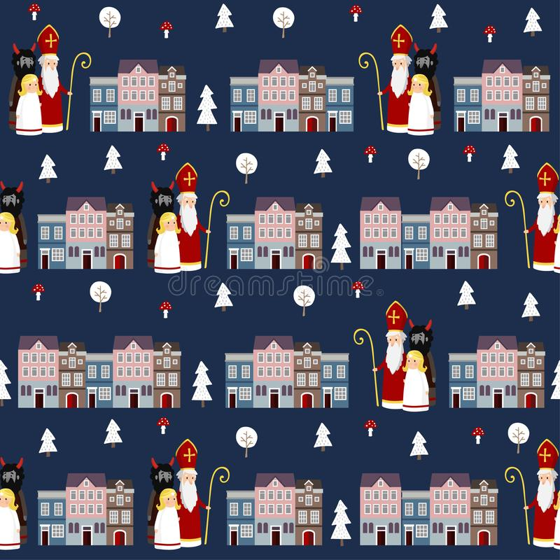 Ślicznej zimy tkaniny bezszwowy wzór z St Nicholas, anioł, diabeł i grodzcy domy, Mieszkanie dzieciaków projekt wektor ilustracji