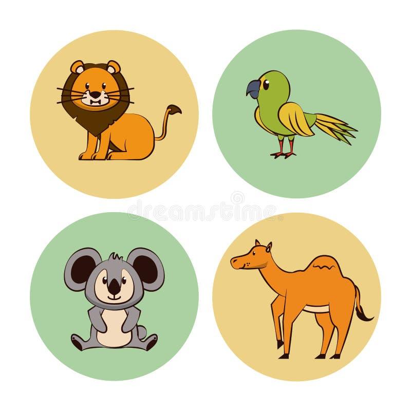 Ślicznej zwierzę kreskówki round ikony ilustracji