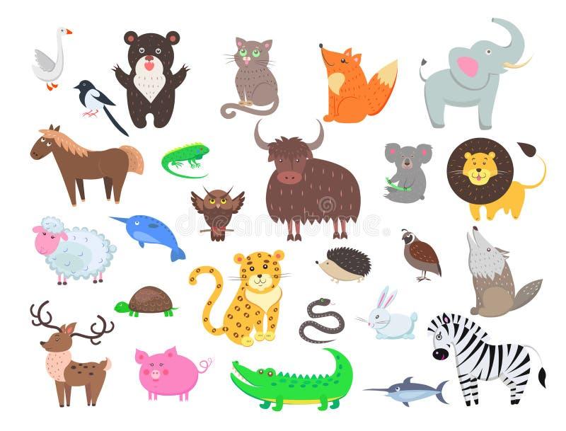 Ślicznej zwierzę kreskówki wektoru Płaski set ilustracja wektor