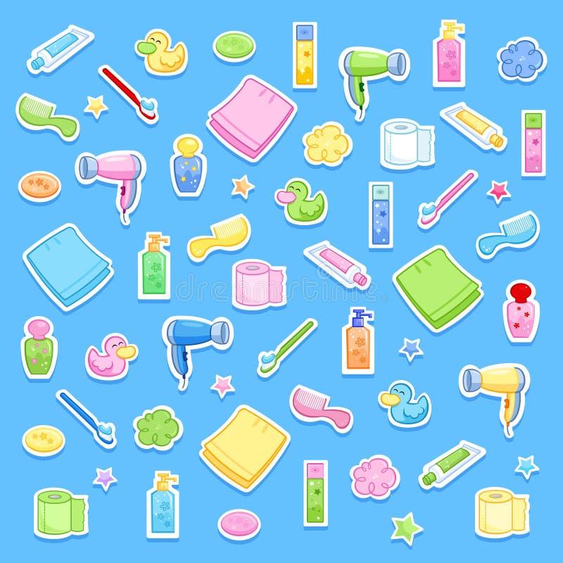 Śliczni łazienki kreskówki elementy Dzienna rutyna - higien akcesoria dla dzieciaków - royalty ilustracja