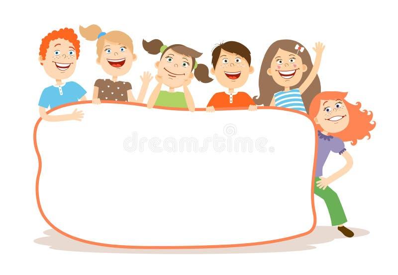 Śliczni śmia się dzieciaki wokoło plakata z copyspace royalty ilustracja