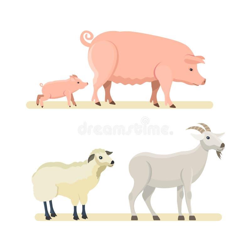 Śliczni śmieszni cakle, kózka, różowa świnia na białym tle ilustracja wektor