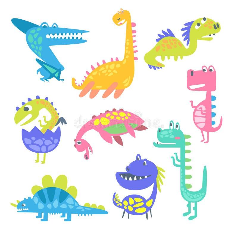 Śliczni śmieszni dinosaury Kolekcja prehistoryczne zwierzęce charakteru wektoru ilustracje ilustracji
