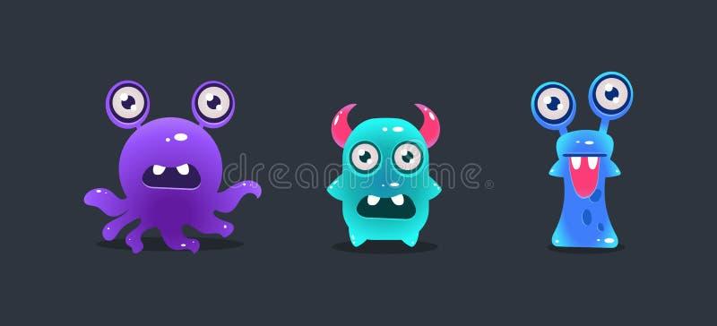 Śliczni śmieszni potwory, kreskówka glansowani obcy, gemowy interfejsu użytkownika element dla wideo gra komputerowa wektoru ilus royalty ilustracja