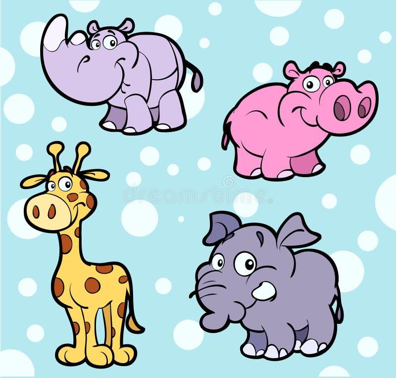 śliczni afrykańscy zwierzęta ilustracja wektor