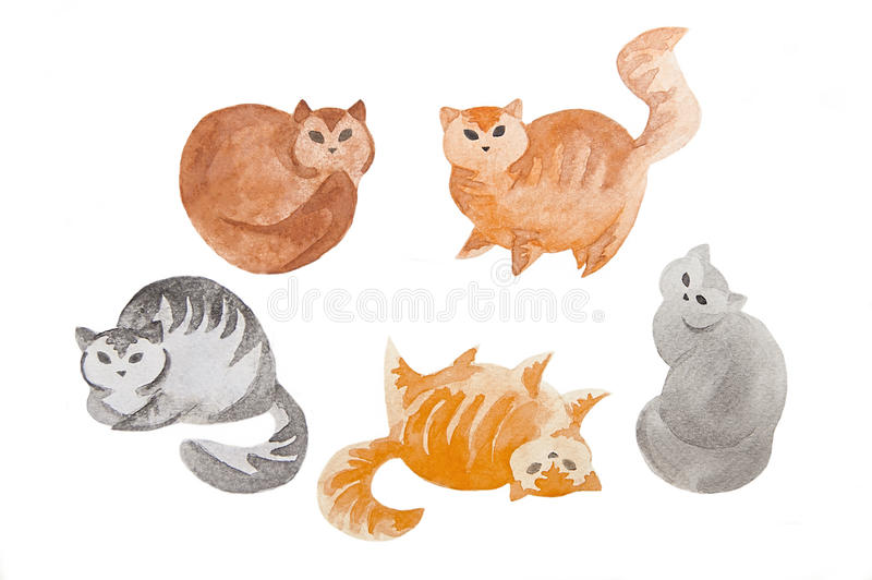 Śliczni akwarela koty zdjęcie royalty free