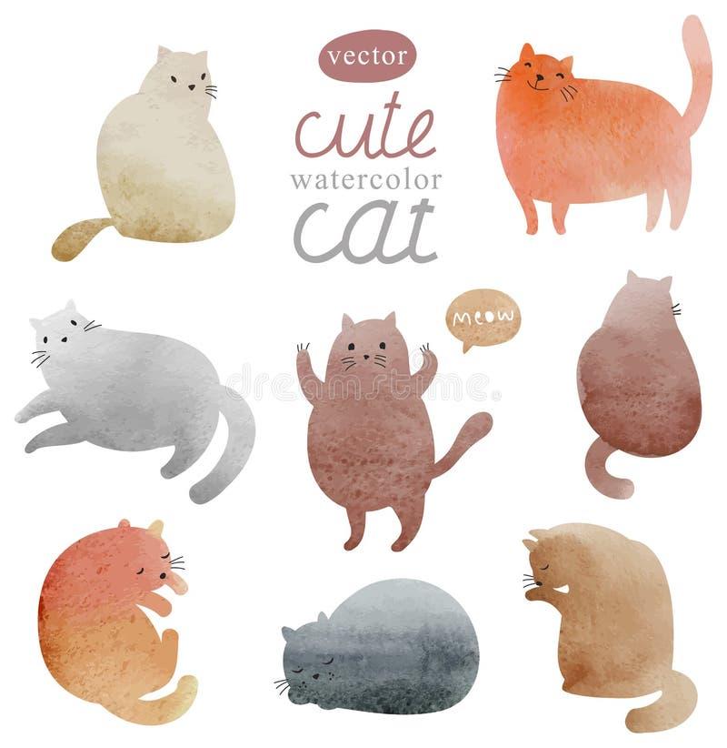 Śliczni akwarela koty ustawiający royalty ilustracja