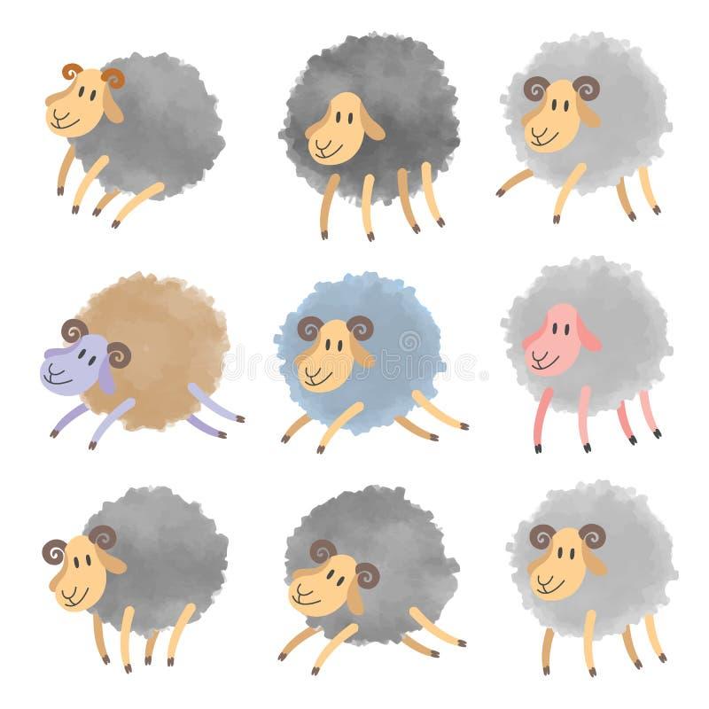 Śliczni akwareli sheeps ustawiający royalty ilustracja