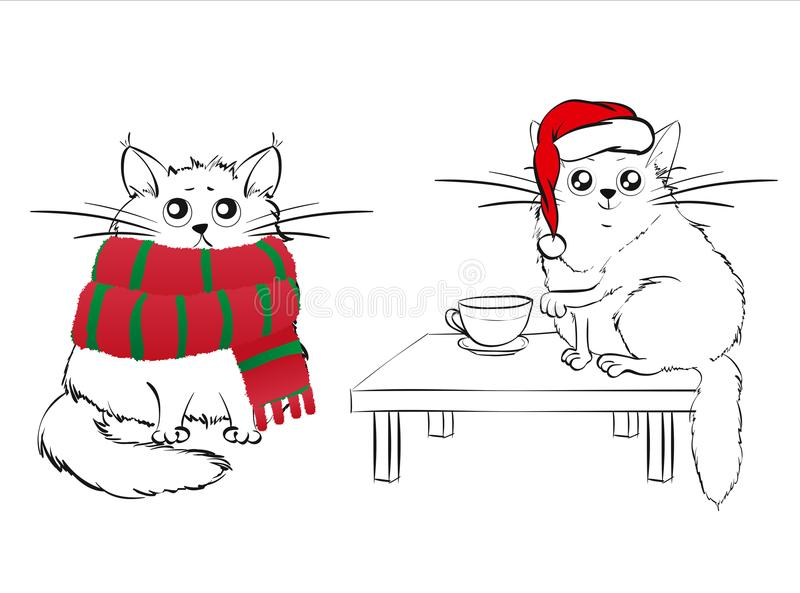 Śliczni biali koty na Bożenarodzeniowym tle ilustracji