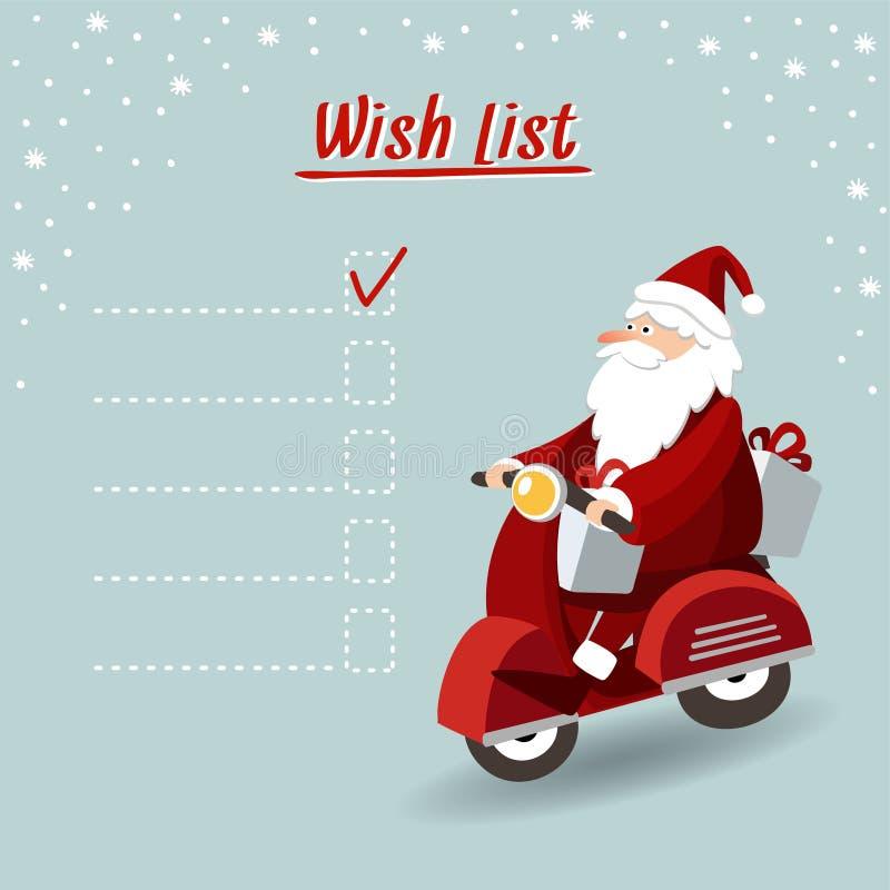 Śliczni boże narodzenia kartka z pozdrowieniami lista życzeń z Święty Mikołaj napędową czerwoną hulajnoga i dostarczać prezenty,  ilustracja wektor
