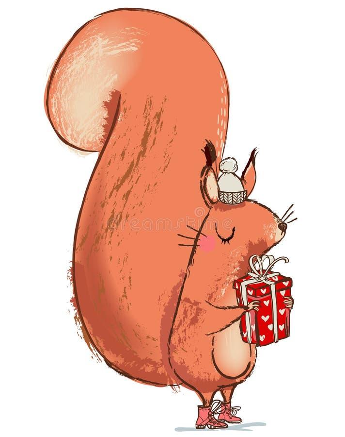 Śliczni boże narodzenia wiewiórczy z teraźniejszości pudełkiem ilustracja wektor