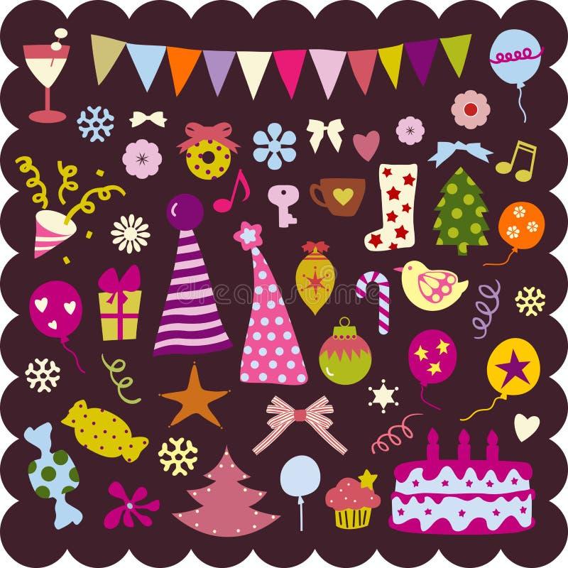 śliczni Boże Narodzenie elementy royalty ilustracja