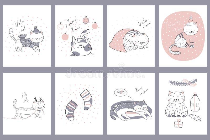 Śliczni Bożenarodzeniowi kotów kartka z pozdrowieniami ilustracji
