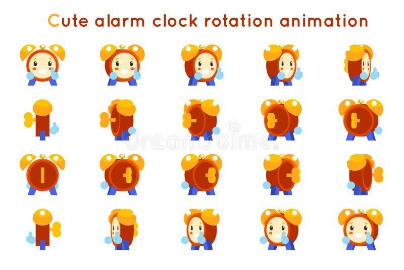 Śliczni budzika dziecka serpentyny dzieciaka charakteru ikon obracania animaci symbole obramiają set odizolowywającego płaskiego  ilustracja wektor