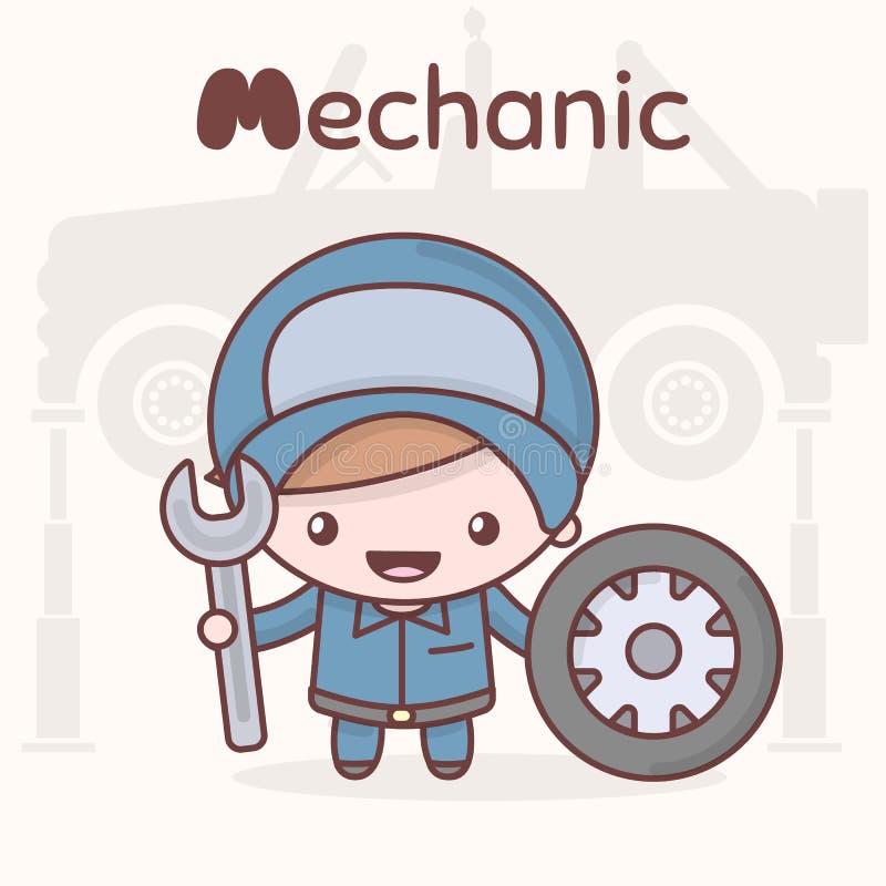 Śliczni chibi kawaii charaktery Abecadło zawody List M - mechanik ilustracja wektor