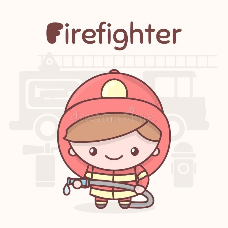 Śliczni chibi kawaii charaktery Abecadło zawody Listowy F - strażak ilustracji