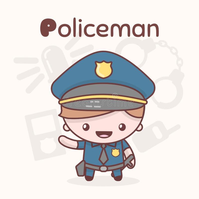 Śliczni chibi kawaii charaktery Abecadło zawody Listowy P - policjant royalty ilustracja