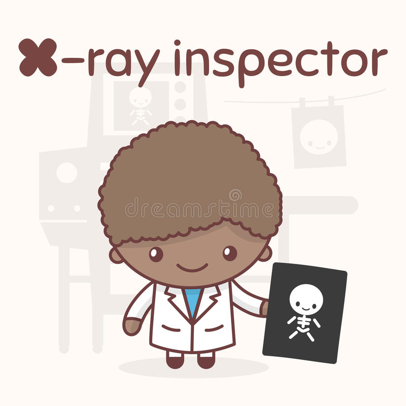 Śliczni chibi kawaii charaktery Abecadło zawody Listowy X - Radiologiczny inspektor royalty ilustracja