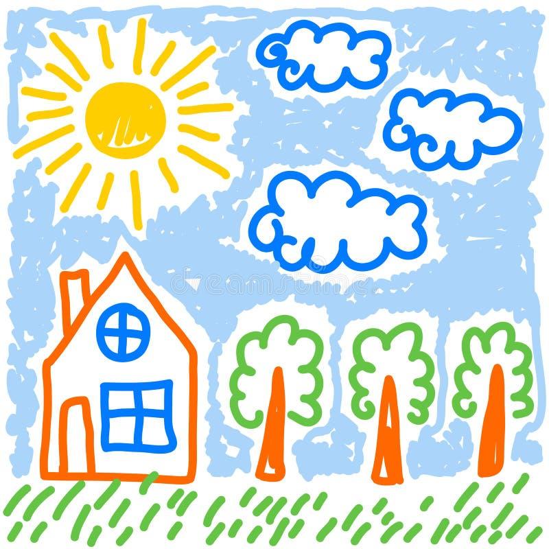 Śliczni childs rysuje przestylizowań domowych drzewa słońce i chmury wektorowi ilustracja wektor