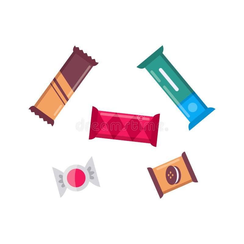 Śliczni czekoladowego baru candys ustawiający wektorowe ikony Przek?ski kolekcja ilustracji